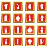 Différentes icônes de cactus réglées rouges Photo libre de droits