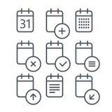 Différentes icônes de calendrier réglées avec les coins arrondis Photographie stock libre de droits