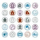 Différentes icônes de maisons pour l'usage dans la conception graphique, ensemble de manoir Photo libre de droits