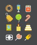 Différentes icônes de vacances réglées avec les coins arrondis illustration de vecteur
