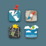 Différentes icônes de voyage réglées avec les coins arrondis Image stock