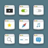 Différentes icônes de Web réglées avec les coins arrondis illustration stock