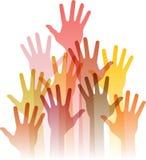 Différentes mains hautes Images libres de droits