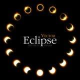 Différentes phases d'éclipse solaire et lunaire Vecteur illustration stock