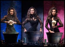 Différentes photos de la jeune et belle sorcière faisant la sorcellerie Image libre de droits