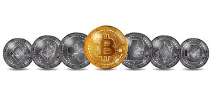 Différentes pièces de monnaie de cryptocurrency d'or et d'argent illustration de vecteur