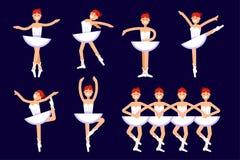 Différentes poses de ballerine dans la danse d'isolement sur le fond blanc Illustration plate de vecteur de ballet Illustration d Image stock