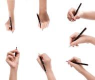 Différentes positions des mains avec des stylos Photos libres de droits