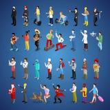 Différentes professions de jeu de caractères isométrique d'hommes illustration libre de droits