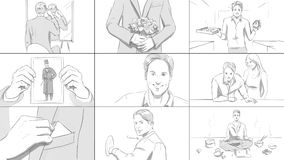 Différentes situations avec un story-board de jeune homme Photos libres de droits