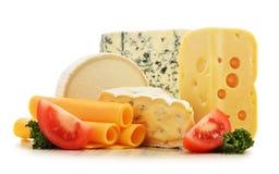 Différentes sortes de fromage sur le fond blanc Photos libres de droits