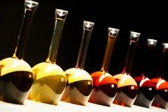 Différentes sortes de vin dans des bouteilles spéciales Images libres de droits