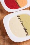 Différentes soupes colorées à purée images stock