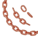 Différentes tailles de la chaîne de cuivre d'isolement sur le fond blanc, rendu 3d Images stock