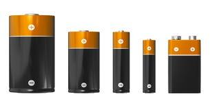 Différentes tailles des batteries : D, C, aa, D.C.A. et PP3 9V illustration libre de droits