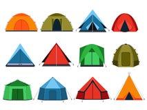 Différentes tentes de touristes pour camper Photos de vecteur dans le style plat illustration stock