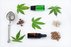 Différentes utilisations pour des cannabis Configuration plate images libres de droits