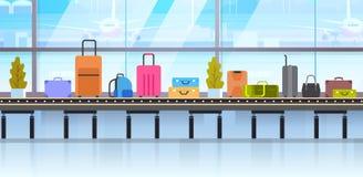 Différentes valises sur la bande de conveyeur de bagages dans l'aéroport illustration de vecteur
