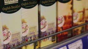 Différentes variétés de thé noir anglais, plan rapproché banque de vidéos