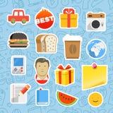 Différents autocollants de mobile ou d'application Web Photos stock
