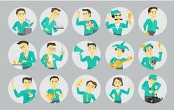 Différents avatars réglés de caractère en cercles Politicien de haut-parleur et beaucoup d'autres Illustration plate de vecteur d Photo stock