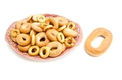 Différents bagels d'un plat Images libres de droits
