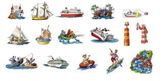 Différents bateaux Images libres de droits