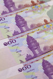 Différents billets de banque de riels du Cambodge Photos libres de droits