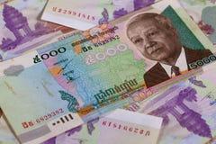 Différents billets de banque de riels du Cambodge Images libres de droits