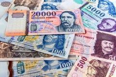 Différents billets de banque hongrois Photos libres de droits