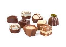 Différents bonbons au chocolat images stock