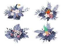 Différents bouquets avec les feuilles et les fleurs exotiques tropicales illustration stock