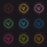 Différents boutons de devises - illustration colorée moderne de cercle de vecteur - d'isolement sur le fond noir illustration libre de droits