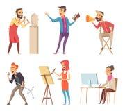 Différents caractères des professions créatives Photos de vecteur dans le style de bande dessinée illustration de vecteur