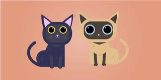 Différents chats de bande dessinée réglés Illustration plate géométrique moderne simple de vecteur de style Chats mignons se repo illustration libre de droits