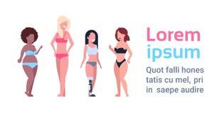 Différents chiffres course de poids excessif réglée de forme de corps de femelle plus de taille de mélange de femme de grand de p Illustration Libre de Droits