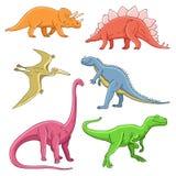 Différents dinosaures mignons et drôles historiques Photographie stock