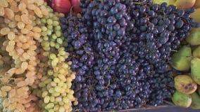 Différents fruits frais, raisins blancs et rouges et poires sur le marché local de nourriture de ferme clips vidéos