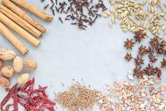 Différents genres d'épices aromatiques d'hiver sur un fond concret gris, vue supérieure, l'espace de copie Photo stock