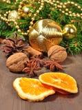 Différents genres d'épices, d'écrous, de cône et d'oranges sèches, Christm Photo libre de droits