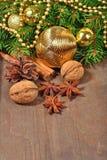 Différents genres d'épices, d'écrous, de cône et d'oranges sèches, Christm Image libre de droits