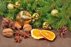 Différents genres d'épices, d'écrous, de cônes et d'oranges sèches, le Christ Images stock