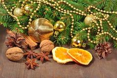 Différents genres d'épices, d'écrous, de cônes et d'oranges sèches, le Christ Photos stock