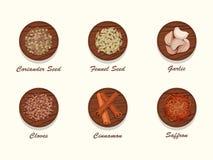 Différents genres d'épices sur le conseil en bois Image libre de droits