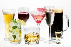 Différents genres d'alcool image libre de droits