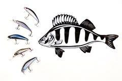 Différents genres d'amorces en plastique de pêche avec l'encre dessinant le fi Photo libre de droits