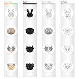 Différents genres d'animaux, de museau d'un lièvre, de hibou, de vache et de mouton Museau des icônes réglées d'une collection d' Photos libres de droits