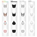 Différents genres d'animaux, souris de museau, cerf commun, poulet, porc Museau des icônes réglées d'une collection d'animal dans illustration de vecteur
