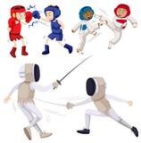 Différents genres d'arts martiaux illustration libre de droits
