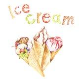 Différents genres de crème glacée et d'inscription Illustration d'aquarelle d'aspiration de main Image stock